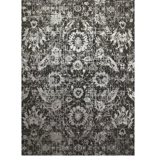 Hand Knotted Liquorice/Frost Gray Contemporary Pattern Rug (12' X 15')