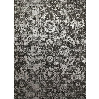 Hand Knotted Liquorice/Frost Gray Contemporary Pattern Rug (12' X 18')
