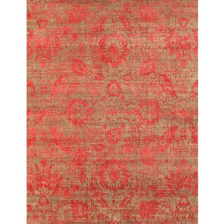 Hand Knotted Clay/Velvet Red Contemporary Pattern Rug (12' X 15')