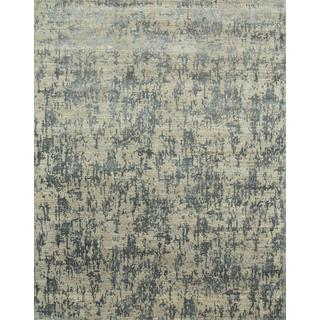 Hand Knotted Light Blue/Stone Blue Contemporary Pattern Rug (12' X 15')