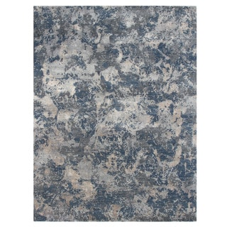 Hand Knotted Pearl Blue/Denim Blue Contemporary Pattern Rug (12' X 15')