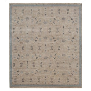 Hand Knotted Dark Ivory/Sky Blue Classic Pattern Rug (11'10 X 15'1)