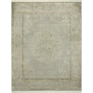Hand Knotted Crystal Gray Traditional Medallion Pattern Rug (12' X 15')