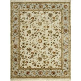 Hand Knotted Light Gold/Ice Blue Transitional Floral Pattern Rug (12' X 15')