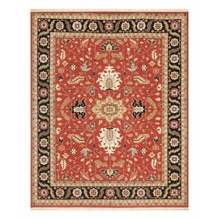 Hand Knotted Red/Ebony Classic Pattern Rug (10' X 14')