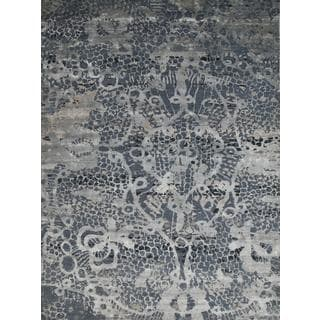 Hand Knotted Denim Ash/Blue Mirage Contemporary Pattern Rug (10' X 14')