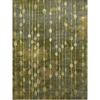 Hand Knotted Sea Green Contemporary Pattern Rug (10' X 14')