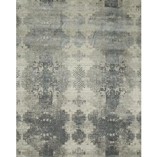 Hand Knotted Antique White/Soft Gray Contemporary Pattern Rug (10' X 14')