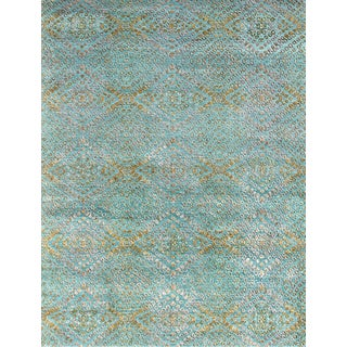 Hand Knotted Capri/Amber Green Contemporary Pattern Rug (10' X 14')