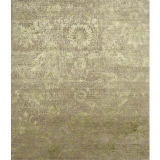 Hand Knotted Mink/Lime Green Contemporary Pattern Rug (9'10 X 16'6)
