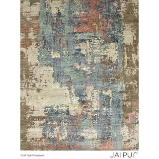 Hand Knotted Antique White/Pearl Blue Contemporary Pattern Rug (10' X 14')