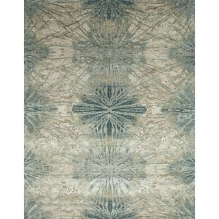 Hand Knotted Oriental Sea Blue Wool Area Rug 10 X 14