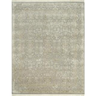 Hand Knotted Soft Gray Classic Pattern Rug (10' X 14')