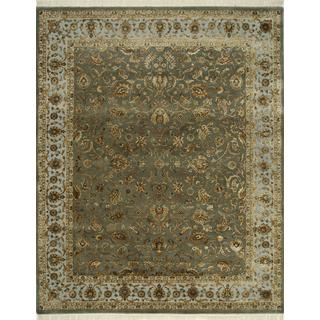 Hand Knotted Olive Fog/Medium Blue Classic Pattern Rug (10' X 14')