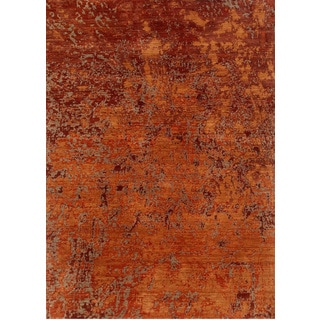 Hand Knotted Red Orange Contemporary Pattern Rug (10' X 14')
