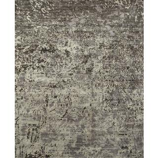 Hand Knotted Liquorice Contemporary Pattern Rug (10' X 14')