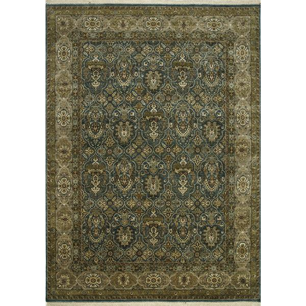 Shop Hand Knotted Teal Blue/Gray Brown Classic Pattern Rug