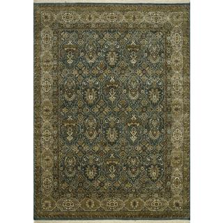 Hand Knotted Teal Blue/Gray Brown Classic Pattern Rug (10' X 14')