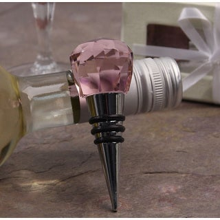 Murano Pink Facet Stainless Steel Bottle Stopper