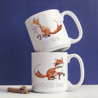 Foxtastic Dad and Foxy Mama 20-ounce Large Coffee Mugs (Set of 2)