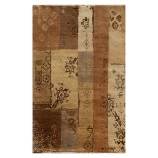 Hand Knotted Light Peach Contemporary Pattern Rug (10' X 14')