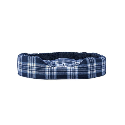 FurHaven Snuggle Faux Sheepskin and Plaid Oval Pet Bed