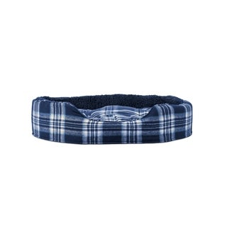 FurHaven Snuggle Faux Sheepskin & Plaid Oval Pet Bed