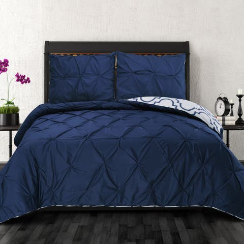 Miranda Haus Valencia Pinched Reversible Cotton Duvet Cover Set