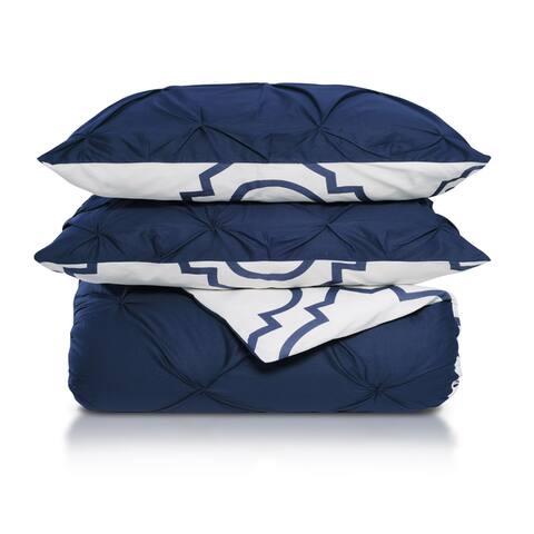 Miranda Haus Valencia Pinched Reversible Cotton Duvet Cover Set