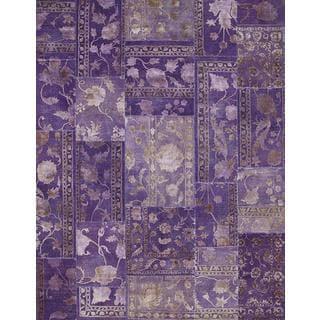 Patchwork African Violet Transitional Patchwork Pattern Rug (13'1 X 19'8)