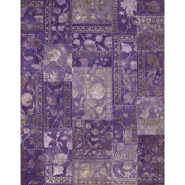 Patchwork African Violet Transitional Patchwork Pattern Rug (13'1 x 19'8) - 13'1 x 19'8