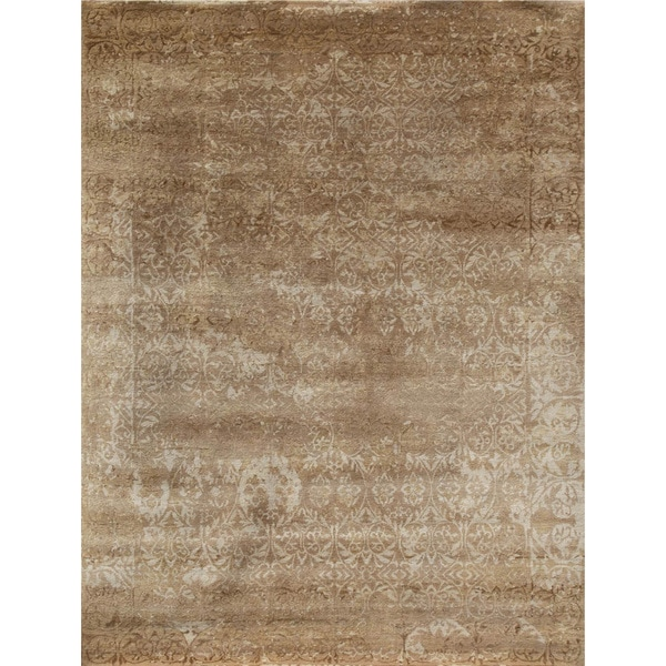 Hand Knotted Beige Contemporary Pattern Rug (10' X 15') - 10 x 15