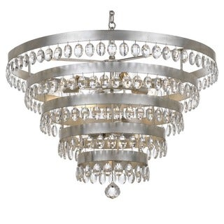 Crystorama Perla Collection 9-light Antique Silver Chandelier
