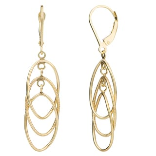 Fremada 14k Gold Dangling Ovals Leverback Earrings