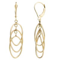 Fremada 14k Gold Dangling Ovals Leverback Earrings