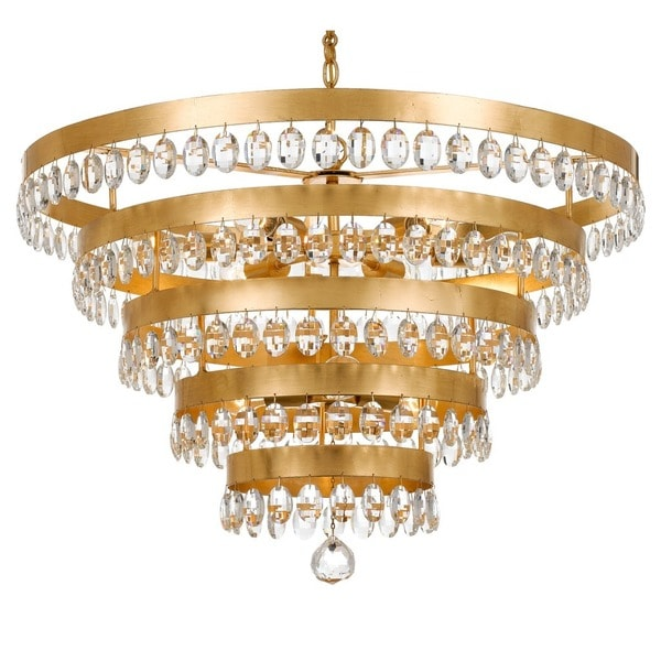 Crystorama Perla Collection 9-light Antique Gold Chandelier - Crystorama Perla Collection 9-light Antique Gold Chandelier - Free