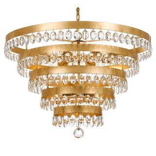 Crystorama Perla Collection 9-light Antique Gold Chandelier