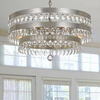 6-light Antique Silver/Crystal Chandelier - Silver