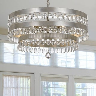 Crystorama Perla Collection 6-light Antique Silver Chandelier