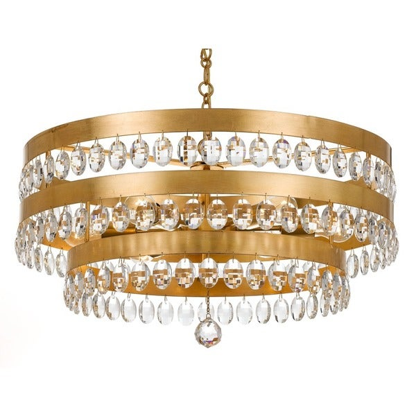 Crystorama Perla Collection 6 Light Antique Gold Chandelier