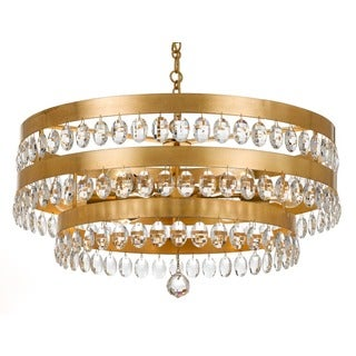 Crystorama Perla Collection 6-light Antique Gold Chandelier