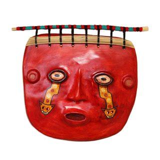 Handmade Wari Shaman Recycled Paper and Jasper Mask (Andes)