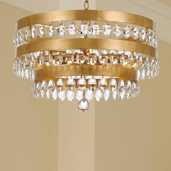 5 Light Antique Gold Crystal Chandelier