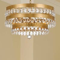 5-light Antique Gold/Crystal Chandelier