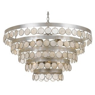 Crystorama Coco Collection 9-light Antique Silver Chandelier