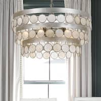6-light Antique Silver/Capiz Shell Chandelier - Silver
