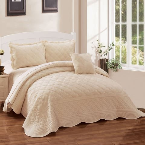 Serenta Supersoft Microplush Quilted 4 Pieces Bedspread Coverlet Set