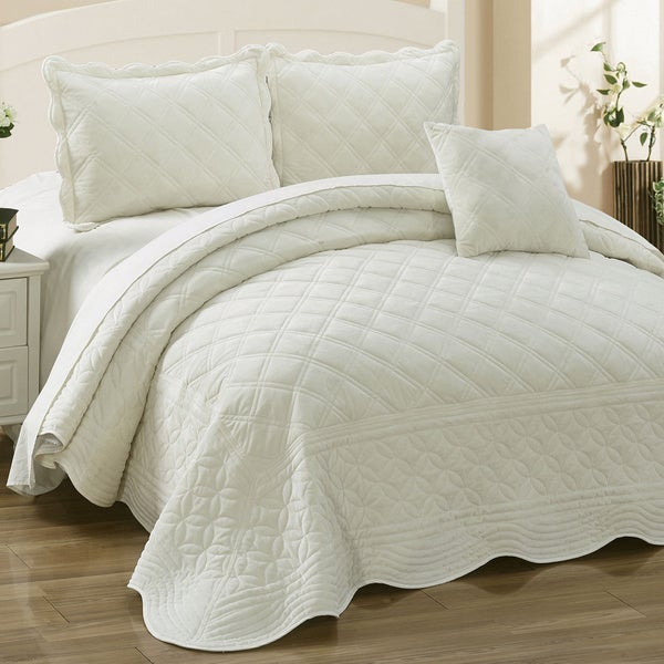 Marvelous Serenta Supersoft Microplush Quilted 4 Piece Bedspread Set