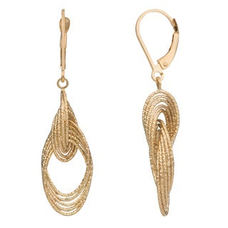 Fremada 14k Gold Stylish Ovals Leverback Earrings