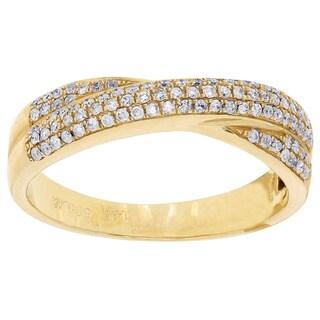 14k Yellow Gold 1/3ct TDW Diamond Pave Ring